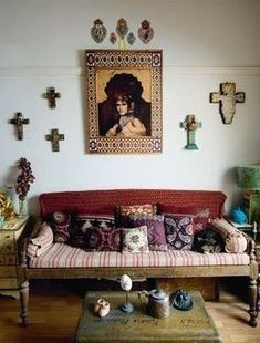 Gorgeous antique couch with pillows.
