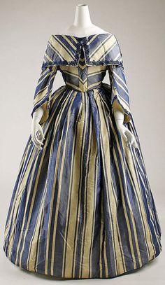 Cream & Blue Striped Dress from 1854 (The Metropolitan Museum of Art)