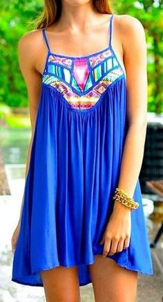 Sapphire Blue Geometric Print Spliced Spaghetti Strap A Line Summer Sun Dress #Sapphire #Blue #Geometric #Print #Beach #Dress #Fashion