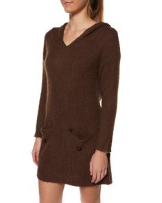 $36   SURFSTITCH - WOMENS - DRESSES - CASUAL DRESSES - STUSSY BRENTWOOD HOOD DRESS - CHOCOLATE