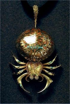 john paul miller.silver.spider.18k gold, enamel by moosoid9, via Flickr