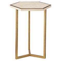 Target Threshold Faux Shell Inlay Hexagonal Accent Table - Cream/ Gold