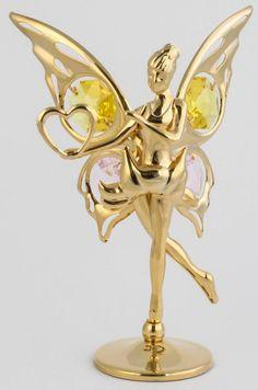 Fee / Elfe Figur mit Herz chrome plattiert MADE WITH SWAROVSKI ELEMENTS - premium-kristall