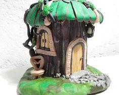 Hadas miniatura casa casa casa hecha a mano del polímero arcilla hecho a mano lindo decoración interior decoración vivero