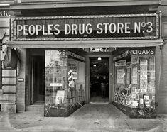 "Washington, D.C., circa 1920. ""People's Drug Store, 14th and U."""