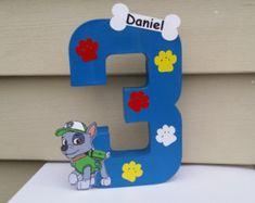 "Age # Puppy Paw patrol centerpiece 10"" party decoration"