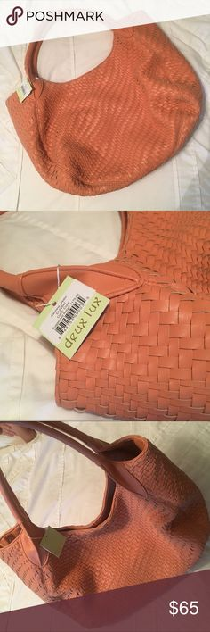 "🍑NWT- Deux Lux- Oversized Hobo 🍑 🍑NWT- Deux Lux- Oversized Hobo🍑                                            Perfect condition!   Peach/Coral Color.                                                                             15"" by 12"".                                                                                       Faux Leather. Deux Lux Bags Hobos"