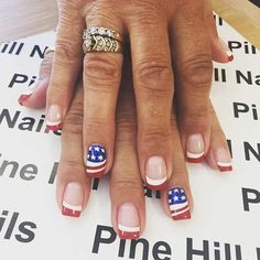 Red and White French Tip Nails + Flag Accent Nails
