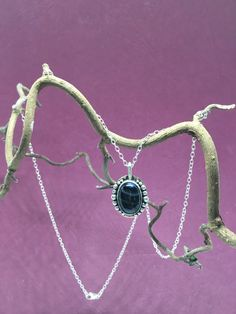 Fluorite black striped necklace by LHarperDesign on Etsy
