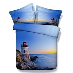 3D Bedding White Lighthouse on Blue Coast-Cotton 4 Piece Full Queen King