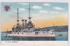 vintage U.S BATTLESHIP Ship postcard U.S.S. Alabama (k126)