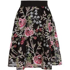 Black Floral Embroidered Mesh Skater Skirt (606.945 IDR) ❤ liked on Polyvore featuring skirts, skater skirt, mesh skater skirt, mesh skirt, circle skirts and flared skirt