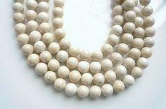 8mm   River stone creamy white  round beads Full strand by akya