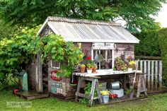 Perfectly Charming Garden Sheds 14 Whimsical Garden Shed Designs - Storage Shed Plans & Whimsical Garden Shed Designs - Storage Shed Plans & Pictures Funky Junk Interiors, Pergola Design, Shed Design, Painted Garden Sheds, Shed Conversion Ideas, Buy Shed, Rustic Shed, Home And Garden Store, Rustic Exterior