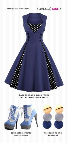 Love this #vintageinspired all blue outfit? Get it now at AtomicJaneClothing.com! Only Fashion, Girl Fashion, Burlesque Dress, Corsets Online, Plus Size Corset, Jane Clothing, Rockabilly Style, Casual Street Style, Unisex Fashion