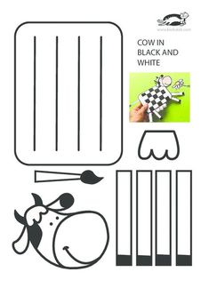 Cow in black and white – craft fun – creative arts Farm Animal Crafts, Animal Crafts For Kids, Art For Kids, Cow Craft, Art N Craft, Paper Weaving, Weaving Art, Paper Toys, Paper Crafts