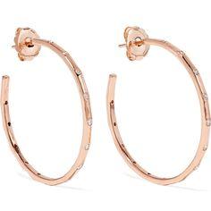 Ippolita Glamazon® Stardust 18-karat rose gold diamond earrings (27962045 PYG) ❤ liked on Polyvore featuring jewelry, earrings, glitter stud earrings, hammered hoop earrings, diamond post earrings, stud earrings and diamond stud earrings