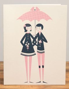 Wedding Umbrella | Red Cap Cards | Illustrated greeting card by Jill Labieniec #valentine