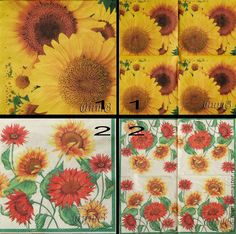 Купить салфетка для декупажа 2 вида подсолнухи цветы принт - салфетки, Декупаж, декупажные салфетки