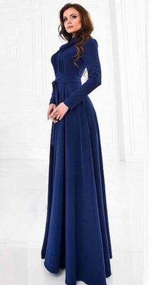 Navy Blue Chiffon Maxi Dress