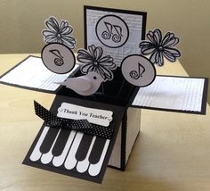 Handmade Card In A Box Special Best Teacher Happy Birthday Music Themed Piano Pop Up Greeting