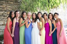 bridesmaids in different colors - Google Search.....love this
