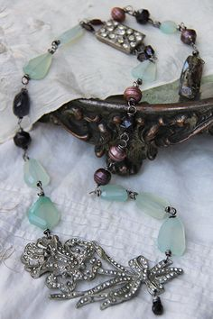 Handmade necklace with vintage rhinestone focal and chalcedony