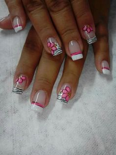 Pink Nail Art, Flower Nail Art, Cute Nail Art, Sexy Nails, Fancy Nails, Pretty Nails, Fingernails Painted, Camo Nails, Manicure