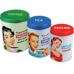 J Bay Coffee Co Coffee, Tea, & Sugar Set of 3 Tin Canisters by Half Moon Bay, http ...