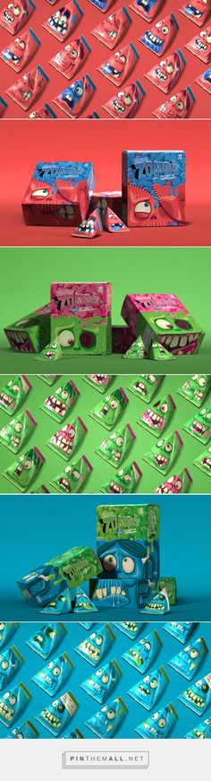 """Zombis' box for their ice lollies have different characters, a zombie, a skeleton and other creature, each box has these creatures drawn in looking up at their heads with stitches with the ice lolly contents dripping on them as if it were their """"brains"""". The logo on each box is at the top in a bold text in colours of green, pink and blue."""