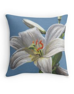"""White lily flower"" Throw Pillow by Savousepate on Redbubble #throwpillow #pillow #homedecor #painting #lilyflower #white #blue"