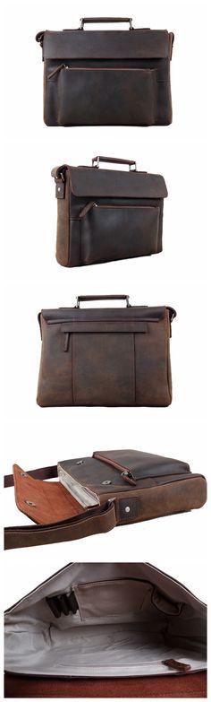 ROCKCOW Genuine Leather Cross Body Messenger Shoulder Bag Satchel