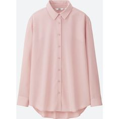 UNIQLO Women's Rayon Long Sleeve Blouse (1.730 RUB) via Polyvore featuring tops, blouses, pink, evening blouses, pleated top, cocktail blouses, holiday tops и special occasion blouses