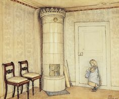 Painting by Carl Larsson. A small girl at Båxhult, Sweden, late Carl Larsson, Scandinavian Art, Swedish Design, Arts And Crafts Movement, Large Painting, Museum Of Fine Arts, National Museum, Old Pictures, Portraits