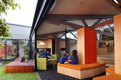 Renovation and Extension At St Monica's College by Branch Studio Architects | Indoor-outdoor relax/social spaces