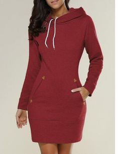 58319b4b7b20a Turn - Hooded Sweater Dress with Pockets Long Hoodie Dress