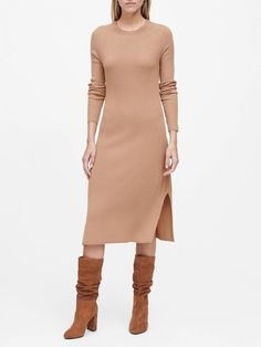 Shop Banana Republic's Ribbed Sweater Dress: A customer favorite style, this versatile dress is made in a soft ribbed-knit fabric for a long and lean look., Straight hem with 10 Casual Dress Outfits, Trendy Outfits, Work Outfits, Fall Outfits, Extra Petite Blog, Suede Moto Jacket, Ribbed Sweater, Banana Republic, Fashion Dresses
