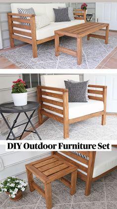 Diy Home Furniture, Outdoor Furniture Plans, Diy Furniture Plans Wood Projects, Furniture Storage, Deck Furniture, Diy Pallet Patio Furniture, Homemade Outdoor Furniture, 2x4 Wood Projects, Patio Furniture Makeover