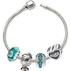 teal ribbon bracelet charm - Google Search
