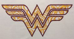 Wonder Woman filigree logo machine by StringTheoryFabArt on Etsy Machine Embroidery Applique, Cross Stitch Embroidery, Filigree Tattoo, Pin Up Tattoos, The Design Files, Fabric Art, Wonder Woman, Logos, Cards