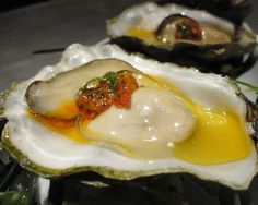 Huur de Oesterkoning in voor uw party www.nl Grilled Oysters with Chermoula and Ramps Ramp Recipe, Grilled Oysters, Wild Onions, Farming, Oyster Recipes, Healthy Sugar, Fish And Seafood, Great Recipes, Mussels