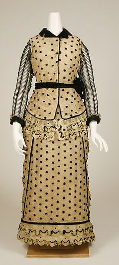 Dress  Date:1880–83 Culture:American Medium:cotton, silk Credit Line:Gift of Mrs. Agnes Kremer, 1938