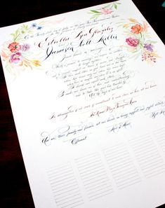Wedding Certificate, Marriage, Custom Scroll, Quaker, Ceremony, Unique Guestbook, Handpainted - Watercolor and Calligraphy