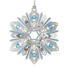 ChemArt Jeweled Snowflake Brass Christmas Ornament Find at: http://www.silversuperstore.com/ornaments/baldwin/jeweled-snowflake-ornament.html