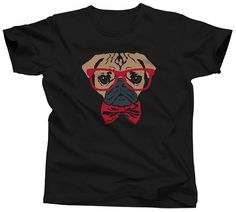 Bowtie and Glasses on a Pug T-Shirt - Hipster Pug T-Shirt - Mens and Ladies Sizes Small-3X - (Please see SIZING CHART in Item Details)