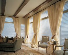 Silhouette® window shadings dresses windows with functional beauty and understated glamour. ♦ Hunter Douglas window treatments #LivingRoom