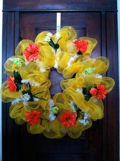 Sunny Yellow Mesh Wreath for Summer by Wreafs on Etsy, $40.00