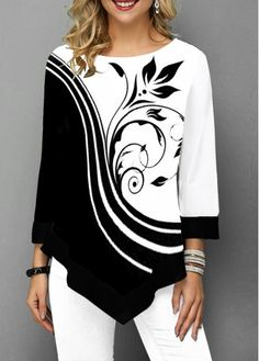 Womens Casual Tops Asymmetric Hem Three Quarter Sleeve Flower Print T Shirt Trendy Tops For Women, Half Sleeves, Shirt Style, Plus Size, Quarter Sleeve, Clothes, Tops Online, Shirts Online, Women's Tees