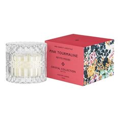 Mrs. Darcy | Crystal Candle Petite - Pink Tourmaline: Posies Pink Candles, Crystal Collection, Pink Tourmaline, Wax, Decorative Boxes, Crystals, Crystal, Decorative Storage Boxes, Crystals Minerals