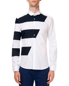 a0bb332c Kenzo Long Sleeve Button-Down Shirt with Racing Stripe & Poplin Pants with  Tiger Detail